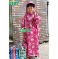 Áo mưa quây không xẻ tà trẻ em vải siêu nhẹ